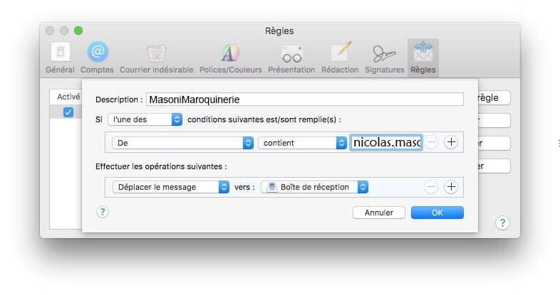 Mac Email comment éviter les spams
