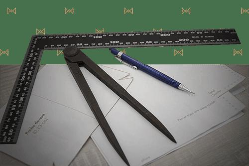Outil pour réalise un patron pour le cuir compas crayons