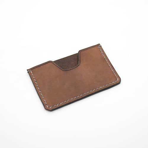 Porte-cartes marron foncé en cuir Masoni Maroquinerie