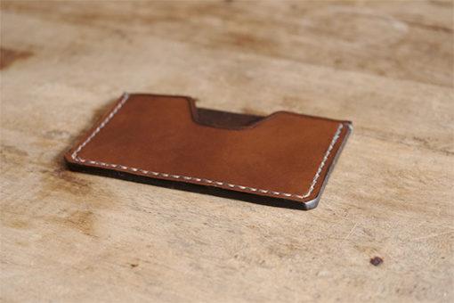 Porte cartes en cuir Masoni Maroquinerie marron foncé
