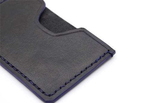 Couture porte cartes en cuir noir et bleu