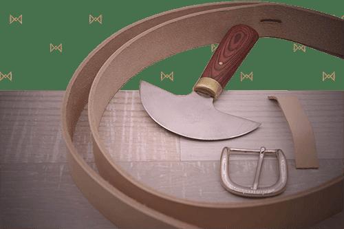 Outils pour couper le cuir - réalisation d'une ceinture cousue-main