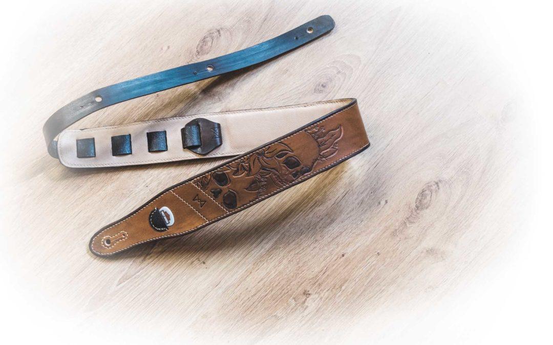 Sangles de guitare «custom» Masoni Maroquinerie.