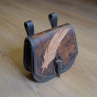Escarcelle en cuir Masoni Maroquinerie plume coté