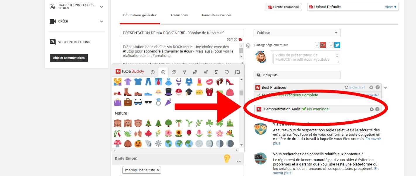 Tubebuddy outil youtube gratuit pour connaître si vidéos démonétisées